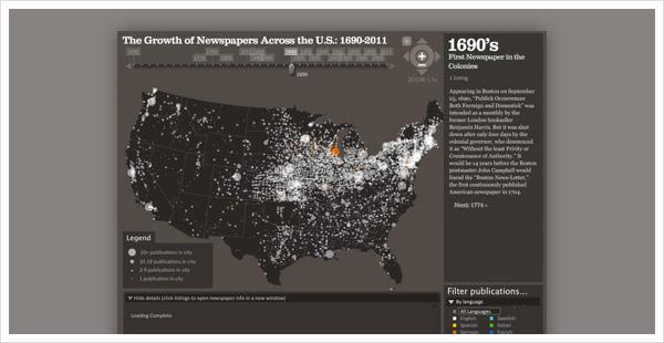 Verbreitung von Zeitungen in den USA