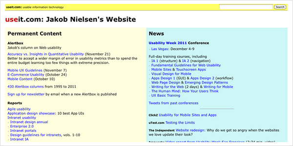 Useit.com Website von Jacob Nielsen