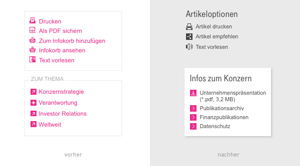 Telekom Relaunch Artikeloptionen