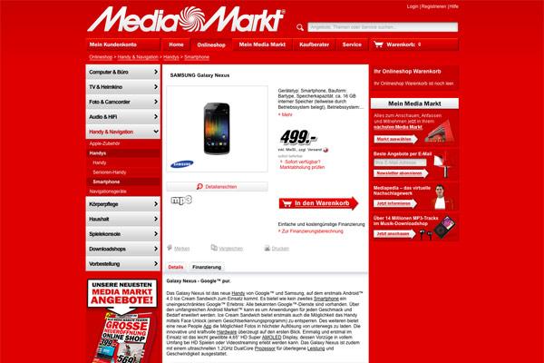 Media Markt Onlineshop Produkt