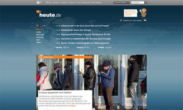 Heute.de Startseite 2012