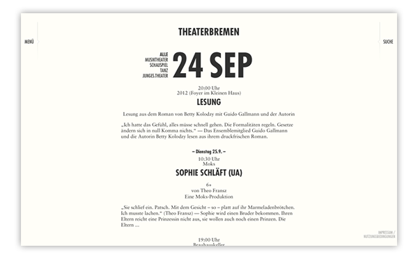 Theater Bremen Website