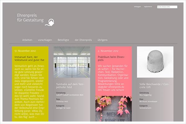 Ehrenpreis für Gestaltung - Webauftritt