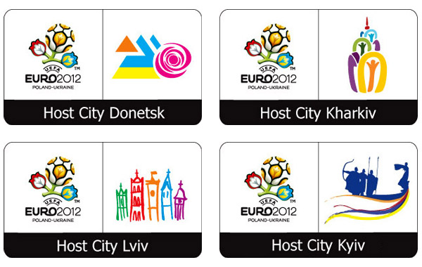 Host-City-Logos Fußball EM 2012 Ukraine