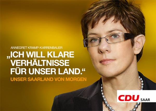 Wahlplakate CDU Saarland Annegret Kramp-Karrenbauer