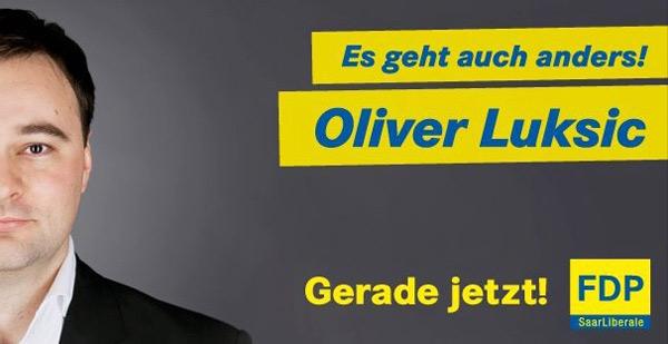 Wahlplakat FDP Saarland Oliver Luksic