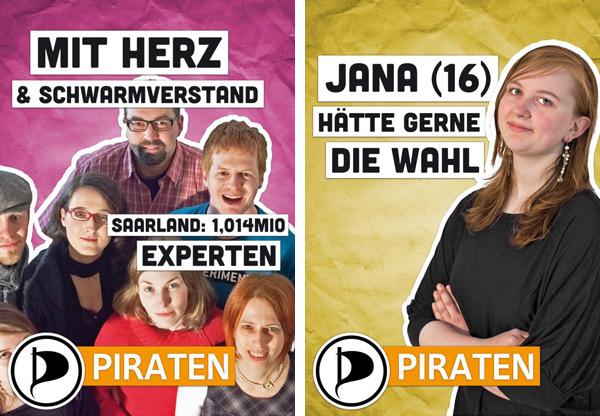 Wahlplakate Piratenpartei Saarland