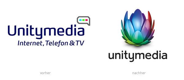 Unitymedia Logo – vorher und nachher