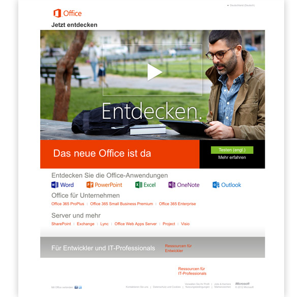 Microsoft Office Customer Preview Webseite