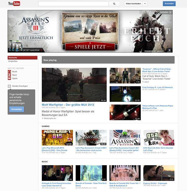 YouTube 2012 Redesign Start
