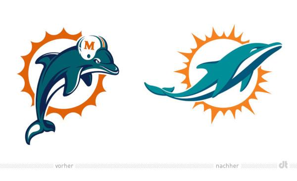 Miami Dolphins Logos – vorher und nachher