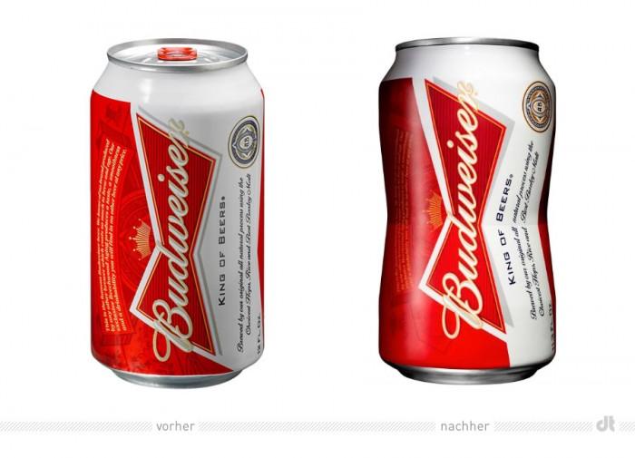 Budweiser Bierdose – voeher und nachher