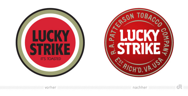 Lucky Strike Logo – vorher und nachher