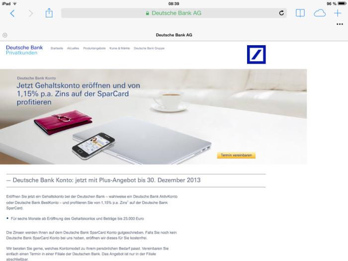 Deutsche-Bank.de auf dem iPad