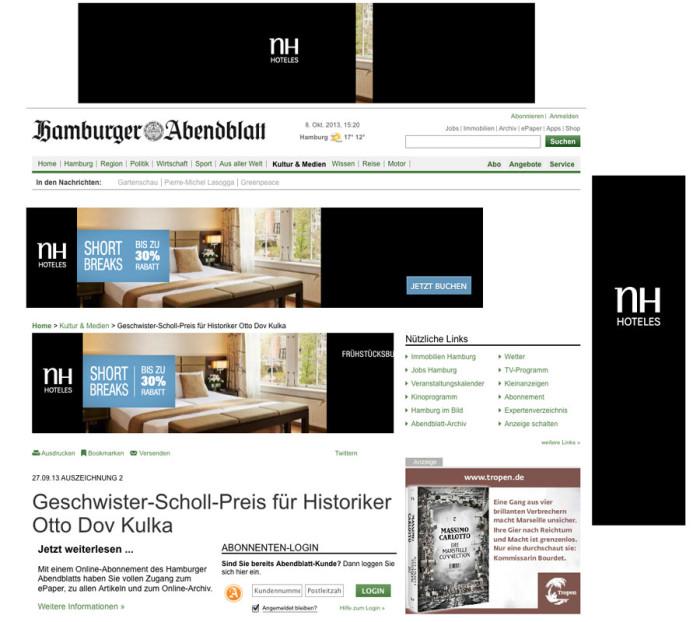 Werbebanner auf Abendblatt.de