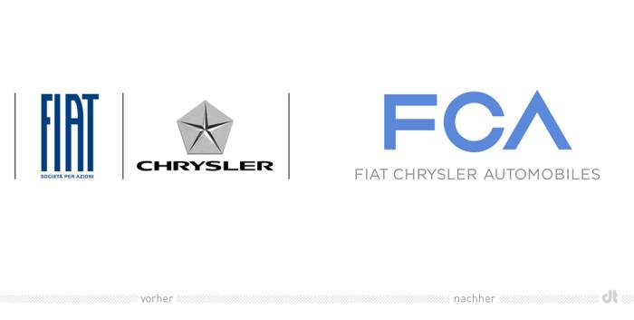 FCA Fiat Chrysler – Logo voher und nachher