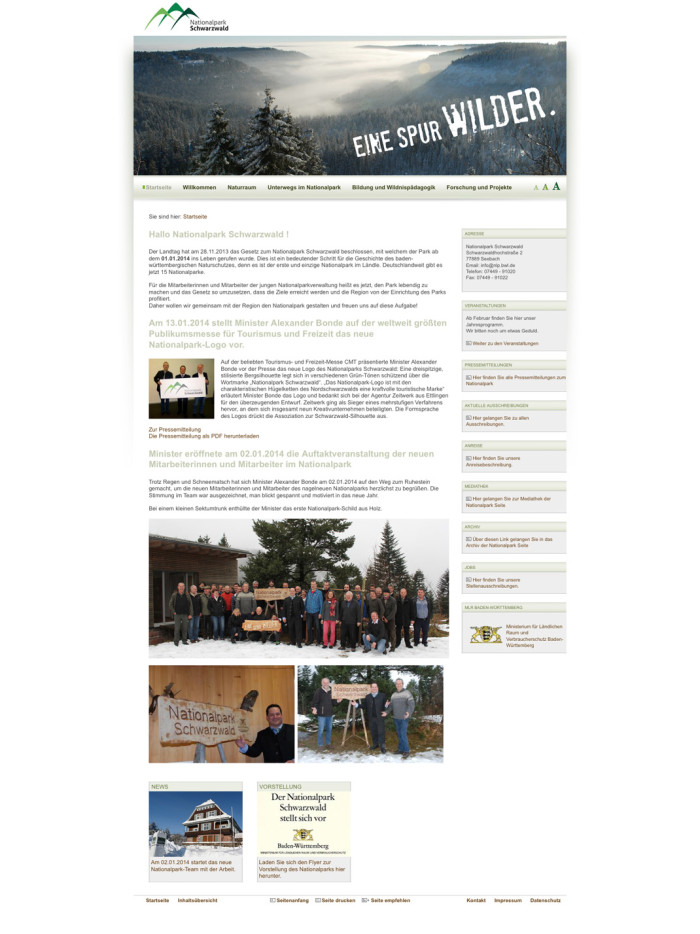 Nationalpark Schwarzwald – Website