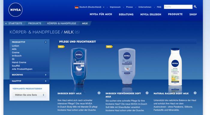 NIVEA – aktuelles Produktdesign