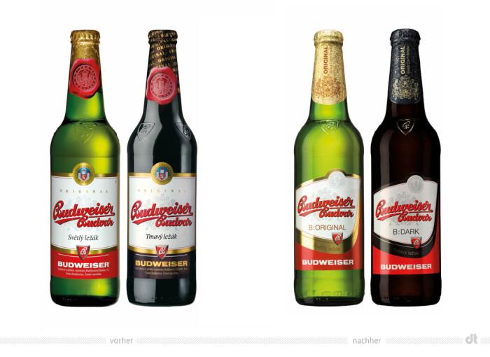Budweiser Budvar Redesign – vorher und nachher