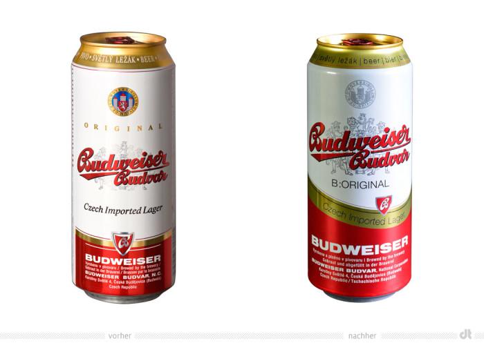 Budweiser Budvar Redesign Dose – vorher und nachher