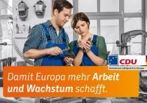 Europawahl 2014 – CDU Großplakat Arbeit und Wachstum