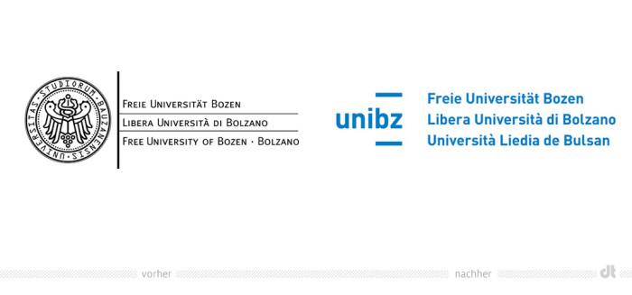Uni Bozen Logo – vorher und nachher