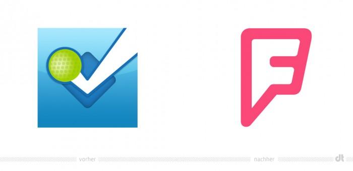 Foursquare App Symbol – vorher und nachher