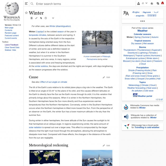 Wikipedia Redesign Desktopversion