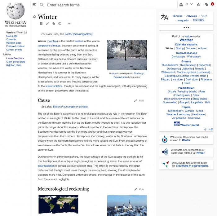 Wikipedia Redesign Desktopversion