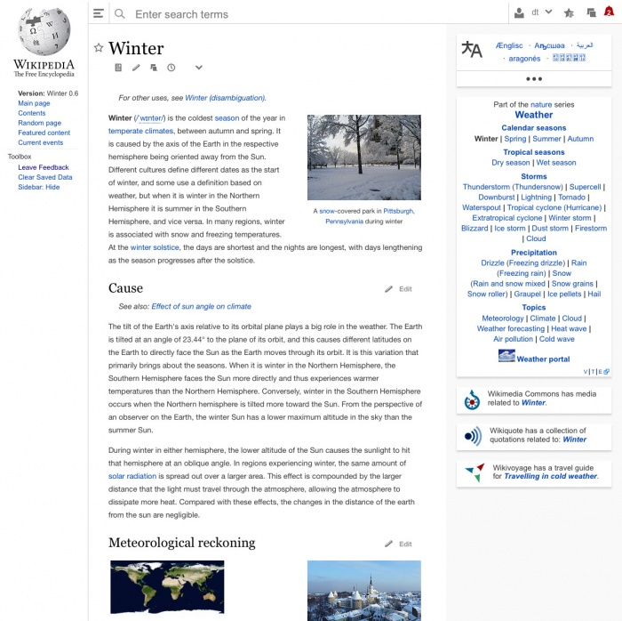 Wikipedia testet neues Interfacedesign
