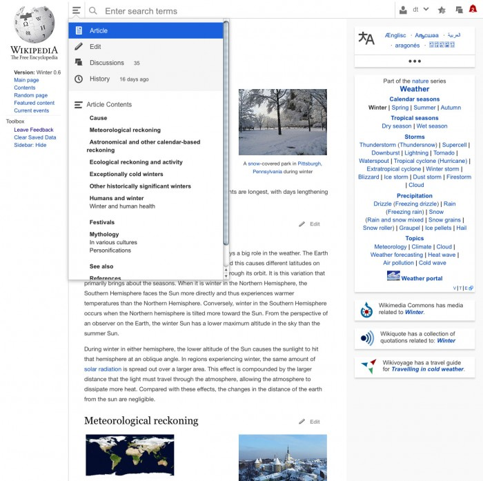 Wikipedia Redesign Hamburger-Menü