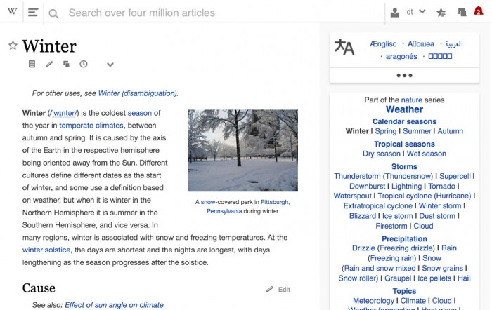 Wikipedia Redesign Tabletversion