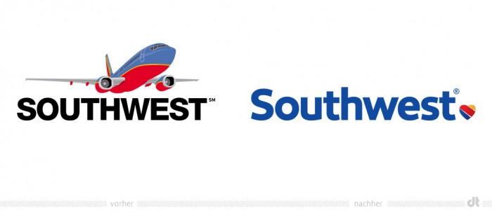 Southwest Airlines Logo – vorher und nachher