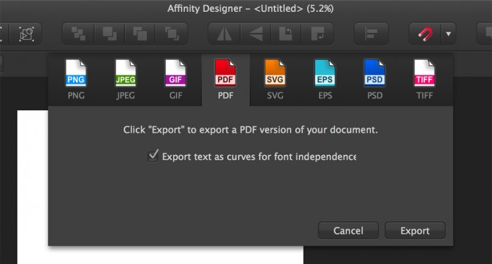 Affinity Designer PDF export
