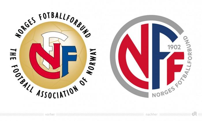 Norges Fotballforbund Logo – vorher und nachher