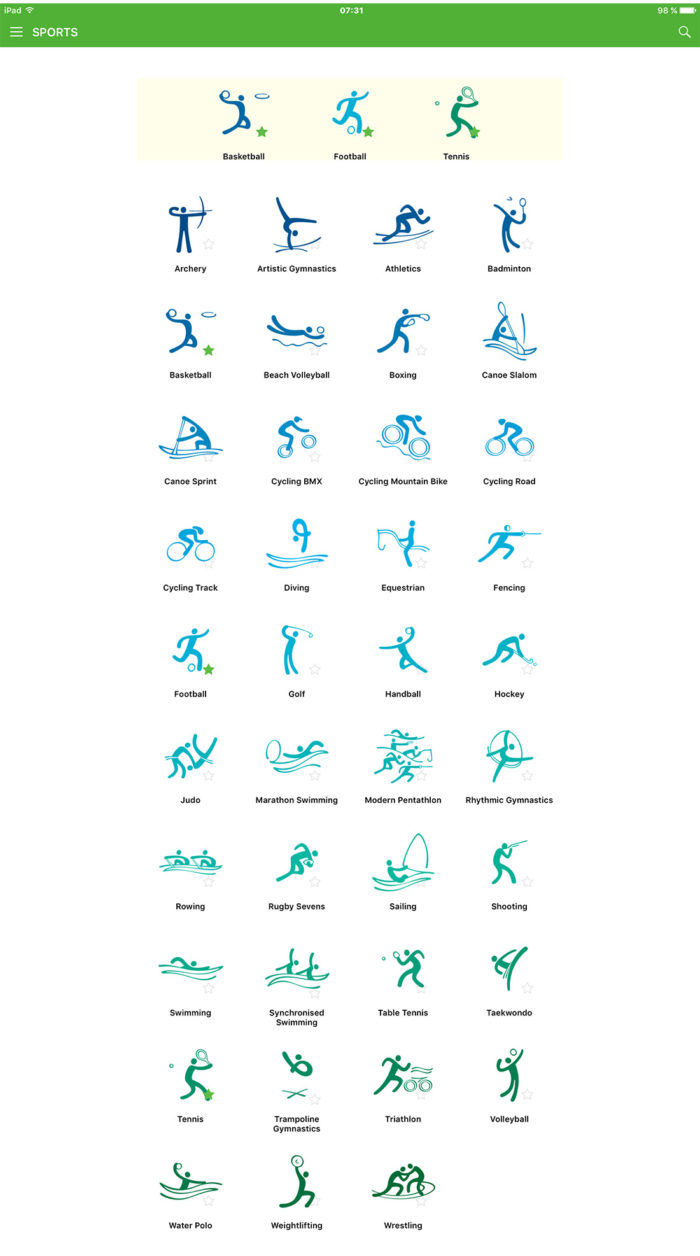 Rio 2016 App – Piktogramme