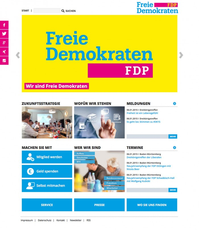 Screenshot der FDP-Website