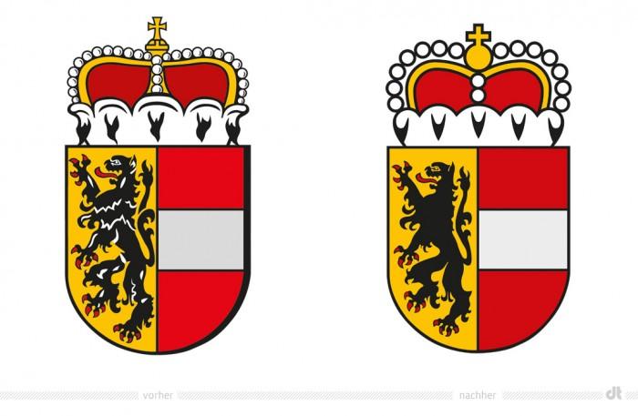 Land Salzburg Wappen – vorher und nachher