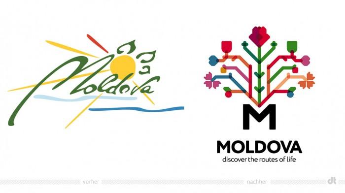 """MoldawienTourismuslogo €"""" vorher und nachher"""