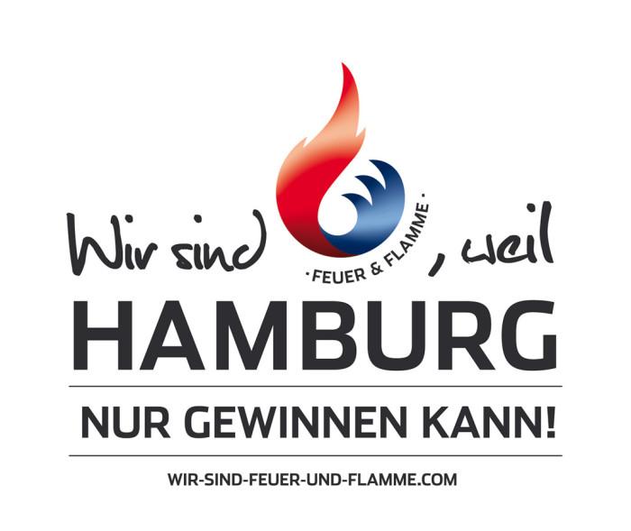 Wir sind Feuer und Flamme, weil Hamburg nur gewinnen kann – Logo