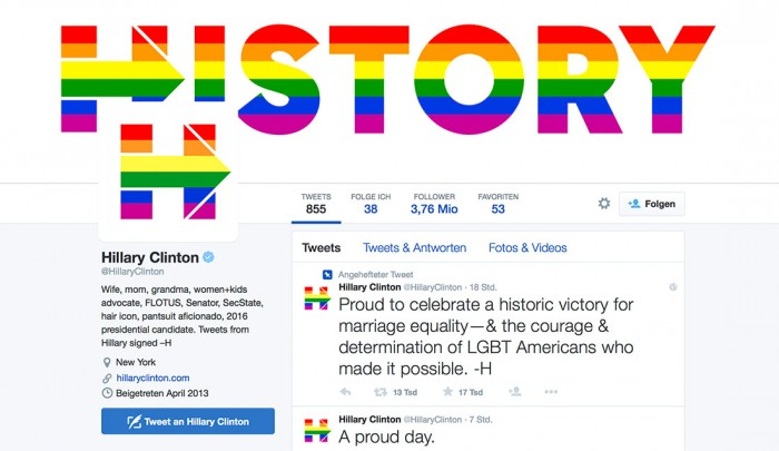 Hillary-H in den Farben von LGBT