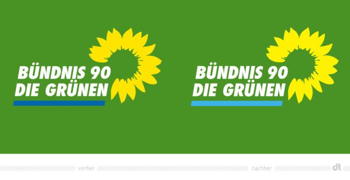 Nur leicht farblich modifiziert – das BÜNDNIS90/DIE GRÜNEN Logo Quelle: BÜNDNIS90/DIE GRÜNEN