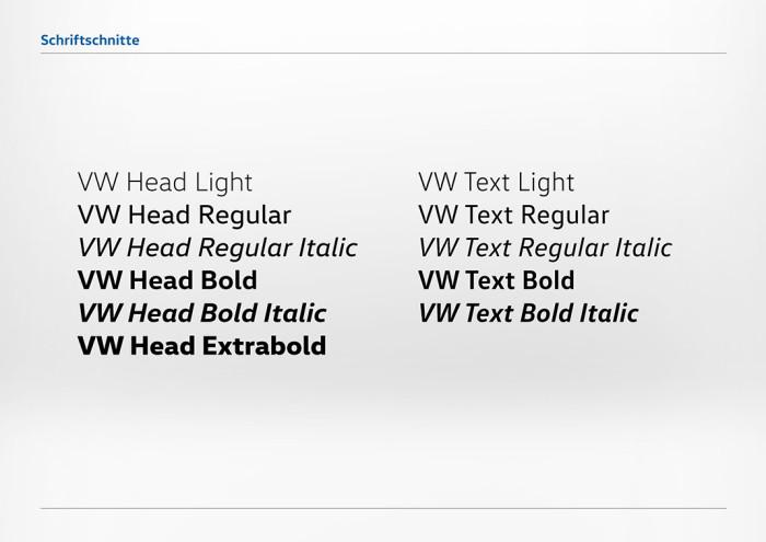 Volkswagen VW Head Hausschrift