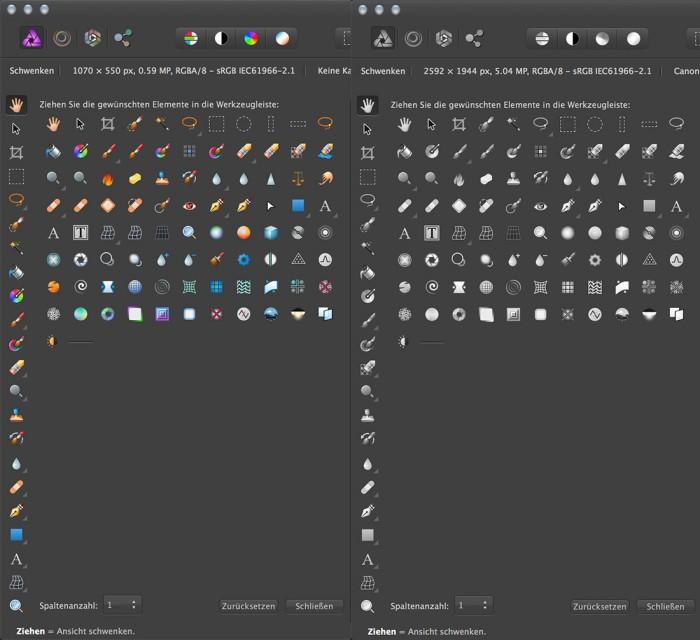 farbig oder monochrom – die Werkzeugleiste von Affinity Photo