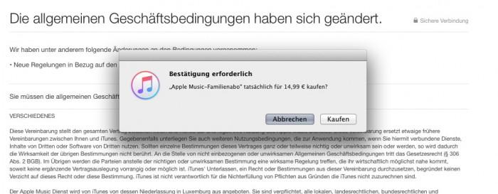 iTunes Interface – Bestätigung