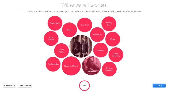 iTunes Interface – Künstler auswählen