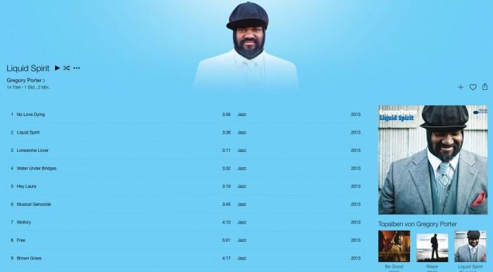 iTunes Interface – Album-Detailseite