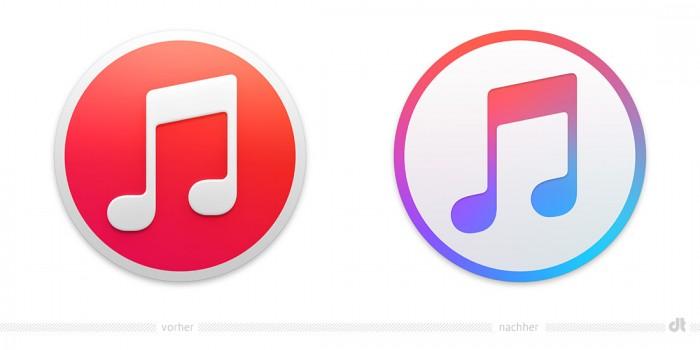 iTunes Logo – vorher und nachher