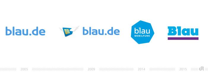 Blau Mobilfunk Logo - vorher und nachher