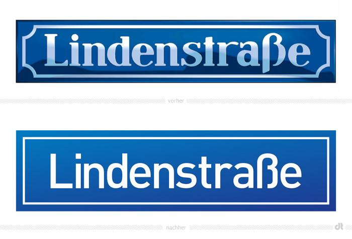 Lindenstraße Schild – vorher und nachher